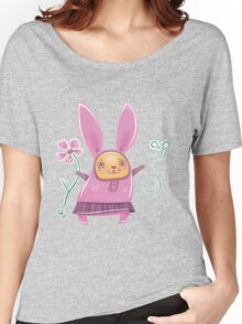 Pink girl bunny in skirt Women's Relaxed Fit T-Shirt