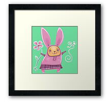 Pink girl bunny in skirt Framed Print