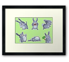 Emotional cute rabbits Framed Print