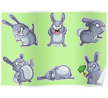 Emotional cute rabbits Poster