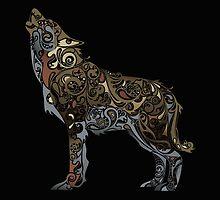 wolf - wild animal. Colorful wolf artwork by Olga Chetverikova