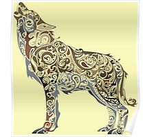 wolf - wild animal. Colorful wolf artwork Poster
