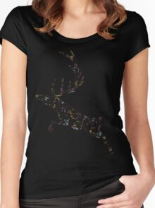 Deer floral pattern. Colorful flowers Women's Fitted Scoop T-Shirt