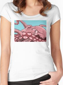 Pink Octopus Design Women's Fitted Scoop T-Shirt