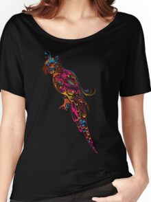 Colorful parrot. Parrot floral pattern. Women's Relaxed Fit T-Shirt