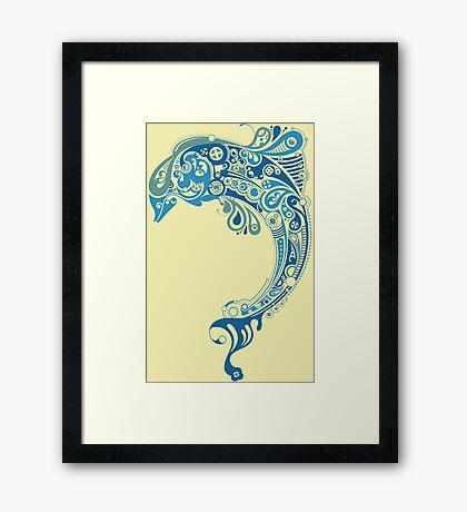 Blue dolphin - unique sea artwork   Framed Print