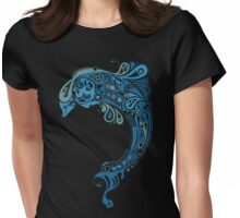 Blue dolphin - unique sea artwork   Womens Fitted T-Shirt