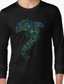 Dolphin - floral with flowers pattern Long Sleeve T-Shirt