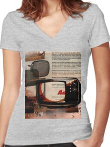 cool geeky tech Retro Vintage TV television Nostalgia Women's Fitted V-Neck T-Shirt