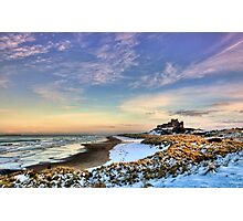 Bamburgh Castle in the Snow Photographic Print