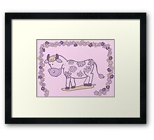 Creative pink floral cow Framed Print