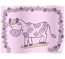 Creative pink floral cow Poster