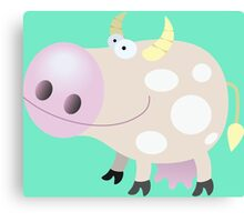 Good-natured smiling cow Canvas Print