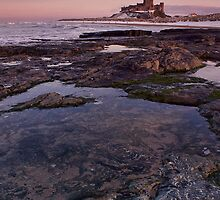 Bamburgh Castle Sunset and Rock Pool by Chris Tait
