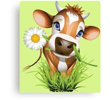 Cute cow has a gift for you Canvas Print
