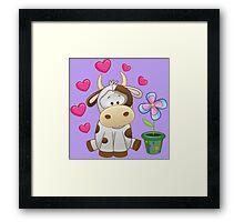 Little cow in love Framed Print