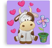 Little cow in love Canvas Print