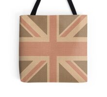 Faded Union Jack UK Flag Faux Burlap  Tote Bag