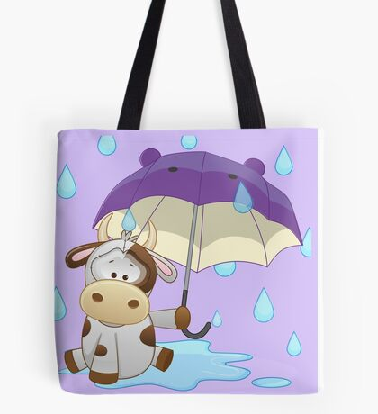 Silly cow under umbrella Tote Bag
