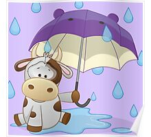 Silly cow under umbrella Poster