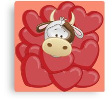 Little calf totally in love Canvas Print