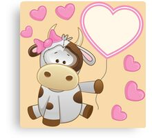 Baby girl calf with hearts and balloon Canvas Print