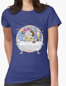 Cute baby cow in bath Womens Fitted T-Shirt