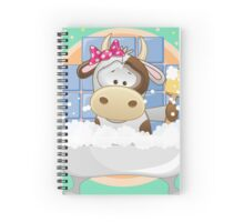 Cute baby cow in bath Spiral Notebook