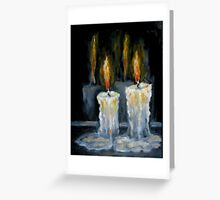 Candles Original oil painting Greeting Card