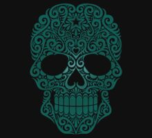 Teal Blue Swirling Sugar Skull by Jeff Bartels