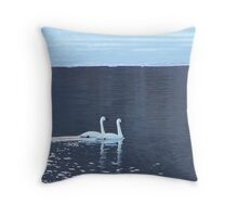 Tundra Swans on Unity Lake Throw Pillow