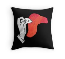Hand Silhouette Camel Red Throw Pillow