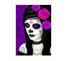 Day of the Dead Girl with Purple Roses  Art Print