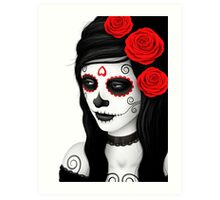 Day of the Dead Girl with Red Roses on White Art Print