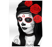 Day of the Dead Girl with Red Roses on White Poster