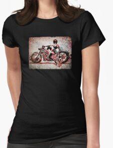 Motorcycle, Girl, art, bike, woman, female, blaster, helmet, visor, wheels, chopper, harley, harleydavidson, harley davidson Womens Fitted T-Shirt