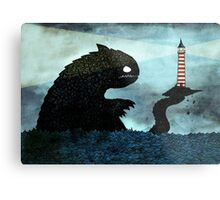 Sea monster & Lighthouse Metal Print