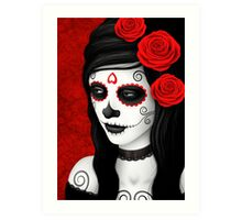 Day of the Dead Girl with Red Roses  Art Print