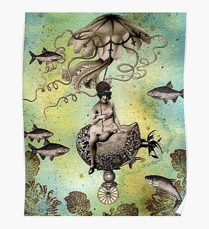 Undersea Steampunk: Aurelia & her Jelly Cruiser Poster