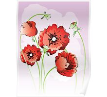 Bright red poppy flowers Poster