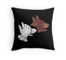 Hand Silhouette Dog Brown Throw Pillow