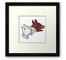 Hand Silhouette Dog Brown Framed Print