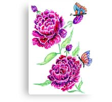 Flowers and Butterfly 2 Canvas Print