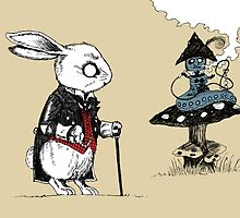 White Rabbit & Caterpillar in Wonderland by djrbennett