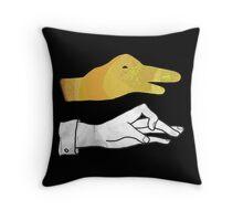 Hand Silhouette Duck Yellow Throw Pillow