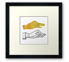 Hand Silhouette Duck Yellow Framed Print
