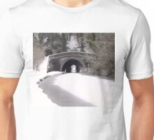 Snowing on the canal at Newbold Unisex T-Shirt