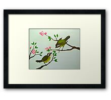 Green Birds Singing Framed Print