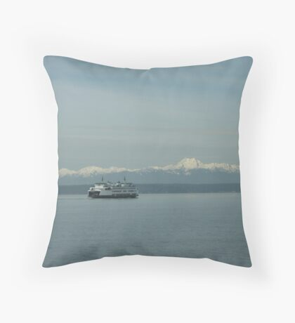 M/V Chelan and the Olympic Mountains Throw Pillow