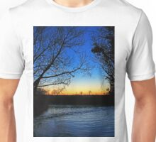 Silhouetted trees at sunset creek. Unisex T-Shirt